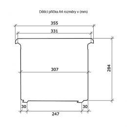 Dělící příčka pro kartotéku A4 rozměry