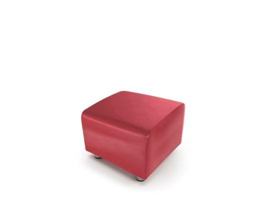Taburet BRICK čalouněný umělou kůží červený