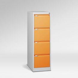Kovová kartotéka A4, 4 zásuvky, dvířka oranžové