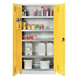 Kovová skříň na chemikálie SCH01A, 4 police, vysoká otevřená