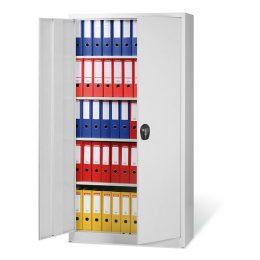 Dvoudvéřová kovová skříň na spisy, 4 police, vysoká, šedé dveře