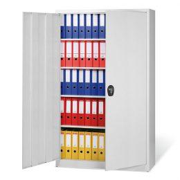 Dvoudvéřová kovová skříň na spisy W, 4 police, vysoká, šedé dveře