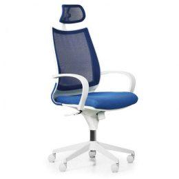 Kancelářská židle FUTURA White NET s područkami nosnost 135 kg modrá