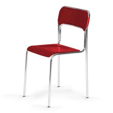 Plastová jídelní židle ASKONA chrom červená