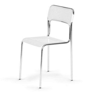 Plastová jídelní židle ASKONA chrom bílá