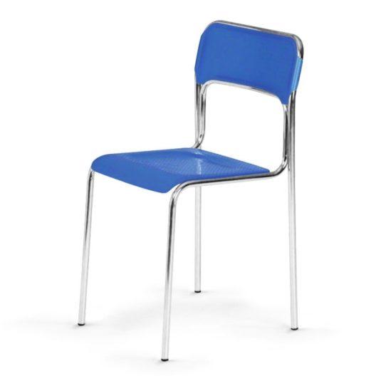 Plastová jídelní židle ASKONA chrom modrá